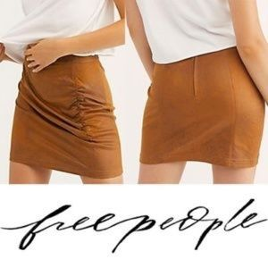 Free People Rumi Ruched Faux Leather Skirt E29